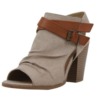 Shoes - Taupe Ruched Linen Cutout Stacked Heel Ankle Boot